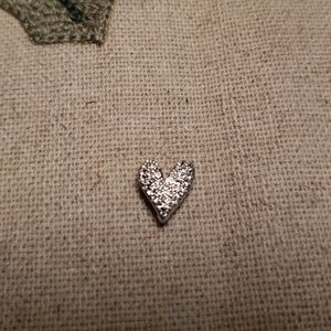 Origami Owl Bracelet Slide Heart in Silver